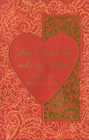 Large Heart on Floral Background: Sister (1 card/1 envelope) - Valentine's Day Card