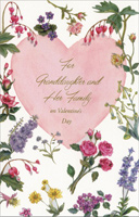 Large Pink Heart & Flowers: Granddaughter (1 card/1 envelope) Freedom Greetings Valentine's Day Card