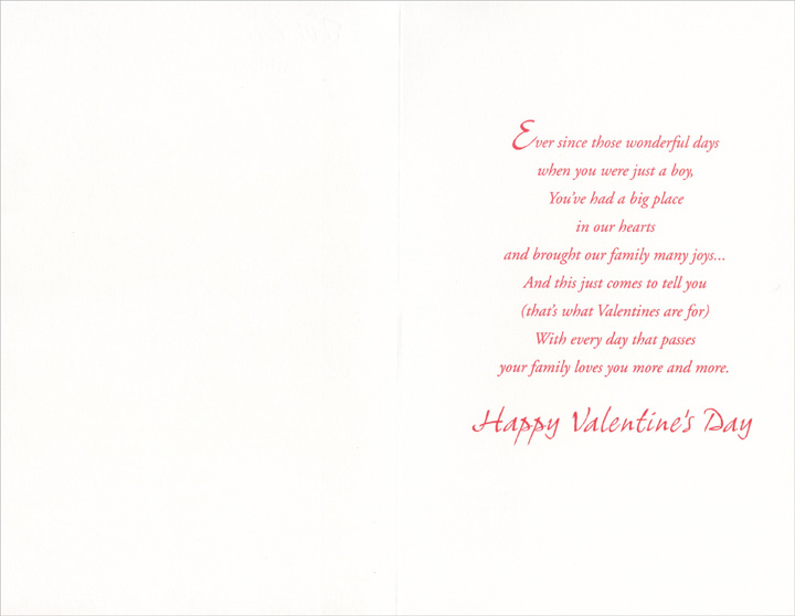 Hart's Inn: Great Grandson (1 card/1 envelope) Freedom Greetings Valentine's Day Card - FRONT: For Great-Grandson with Love and Memories  INSIDE: Ever since those wonderful days when you were just a boy, you've had a big place in our hearts and brought our family many joys� And this just comes to tell you (that's what Valentines are for) With every day that passes your family loves you more and more. Happy Valentine's Day