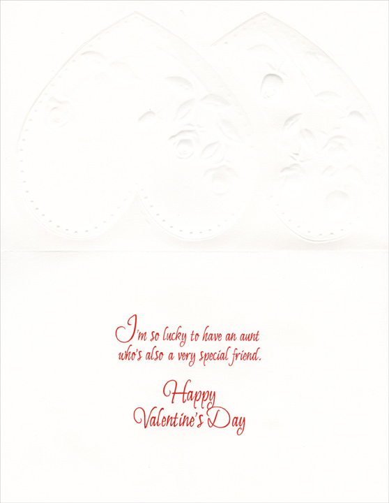 Red & White Roses: Aunt (1 card/1 envelope) Freedom Greetings Valentine's Day Card - FRONT: For a Wonderful Aunt on Valentine's Day  INSIDE: I'm so lucky to have an aunt who's also a very special friend. Happy Valentine's Day