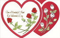 Red & White Roses: Aunt (1 card/1 envelope) - Valentine's Day Card