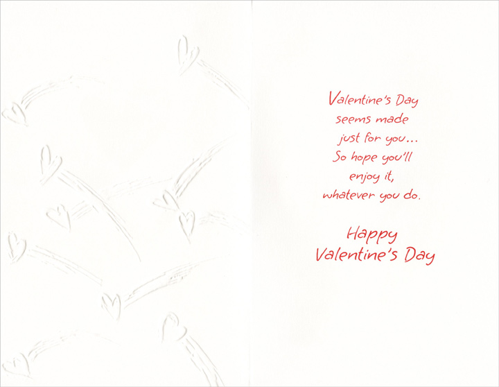 White Embossed Shooting Hearts: Nephew (1 card/1 envelope) Freedom Greetings Valentine's Day Card - FRONT: For Nephew and His Wife  INSIDE: Valentine's Day seems made just for you… So hope you'll enjoy it, whatever you do. Happy Valentine's Day