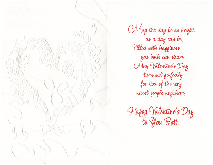 Red Ribbon, Embossed Heart: Niece (1 card/1 envelope) Freedom Greetings Valentine's Day Card - FRONT: For a Dear Niece and Her Husband  INSIDE: May the day be as bright as a day can be, filled with happiness you both can share� May Valentine's Day turn out perfectly for two of the very nicest people anywhere. Happy Valentine's Day to You Both