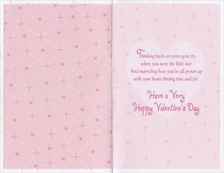 Embossed heart pink stitches daughter valentines day card by inside m4hsunfo