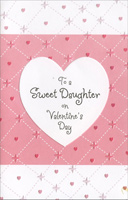 Embossed Heart & Pink Stitches: Daughter (1 card/1 envelope) - Valentine's Day Card