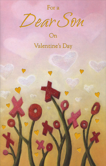 X & O Flowers: Son (1 card/1 envelope) Freedom Greetings Valentine's Day Card - FRONT: For a Dear Son on Valentine's Day  INSIDE: A garden of wishes, hugs and kisses, touched with morning dew. No one is kinder, so here's a reminder of the love that's grown for you. Happy Valentine's Day