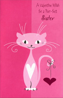 Pink Cat with Gold Heart: Sister (1 card/1 envelope) Freedom Greetings Valentine's Day Card