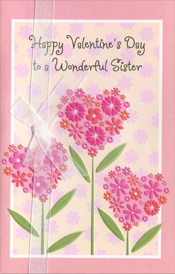 Pink heart flowers of flowers sister valentines day card by pink heart flowers of flowers sister valentines day card m4hsunfo Choice Image