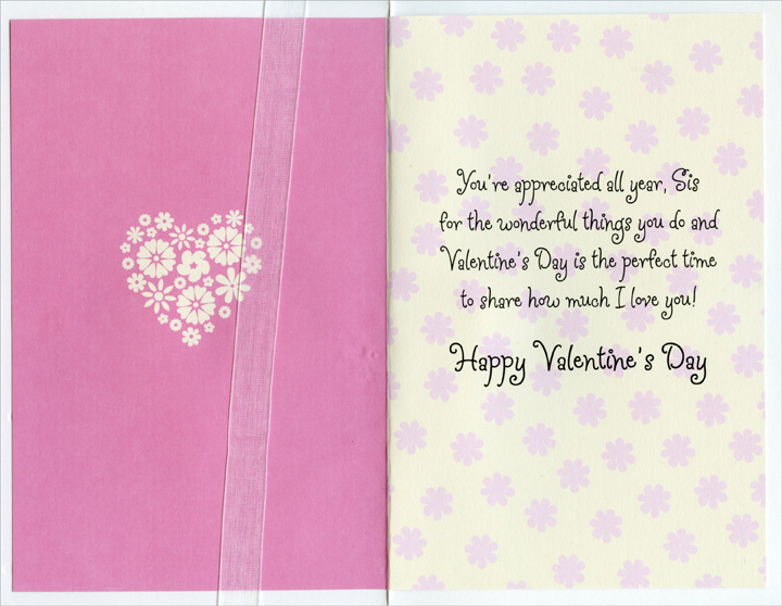 Pink Heart Flowers of Flowers: Sister (1 card/1 envelope) Freedom Greetings Valentine's Day Card - FRONT: Happy Valentine's Day to a Wonderful Sister  INSIDE: You're appreciated all year, Sis for the wonderful things you do and Valentine's Day is the perfect time to share how much I love you! Happy Valentine's Day