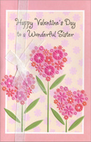 Pink Heart Flowers of Flowers: Sister (1 card/1 envelope) Freedom Greetings Valentine's Day Card