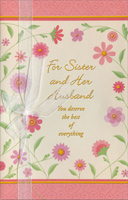 Surrounding Pink Flowers: Sister (1 card/1 envelope) Freedom Greetings Valentine's Day Card