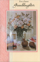 Floral Bouquet on Table: Granddaughter (1 card/1 envelope) - Valentine's Day Card - FRONT: For a Sweet Granddaughter  INSIDE: Here's a special Valentine just for wonderful you, and it comes to say how loved you are all the whole year through. Happy Valentine's Day