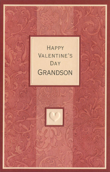 Muted Stripes: Grandson (1 card/1 envelope) Freedom Greetings Valentine's Day Card - FRONT: Happy Valentine's Day Grandson  INSIDE: You can bring a little magic into even the most ordinary day. You're Wonderful