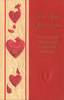 Embossed Hearts & Vines: Grandson (1 card/1 envelope) - Valentine's Day Card