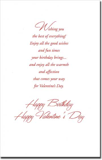 One Tulip: Valentine Birthday (1 card/1 envelope) Freedom Greetings Valentine's Day Card - FRONT: For Your Valentine Birthday  INSIDE: Wishing you the best of everything! Enjoy all the good wishes and fun times your birthday brings� and enjoy all the warmth and affection that comes your way for Valentine's Day. Happy Birthday Happy Valentine's Day