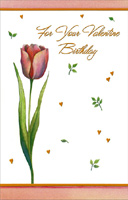 One Tulip: Valentine Birthday (1 card/1 envelope) - Valentine's Day Card
