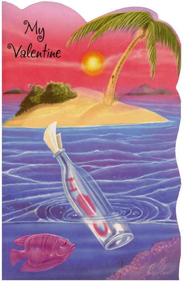 Message in Bottle: Valentine (1 card/1 envelope) Freedom Greetings Valentine's Day Card - FRONT: My Valentine  INSIDE: Paradise is me plus you, fun and laughter, love (true blue) and one sweet message through and through� I Love You