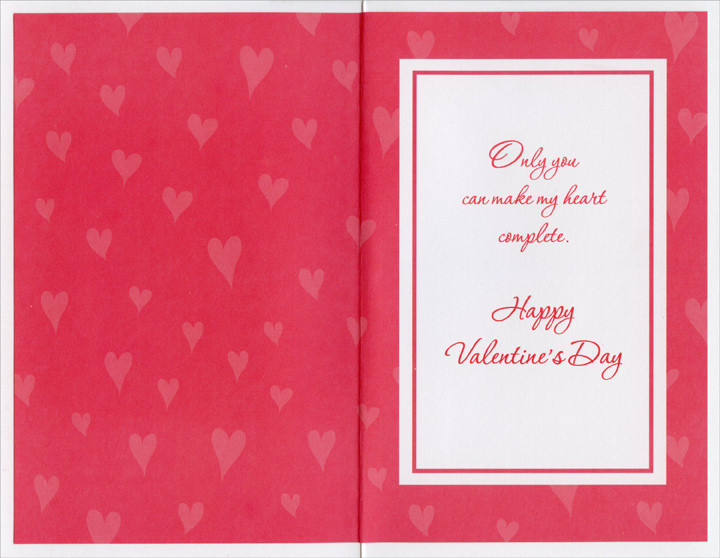 Two Roses Form Heart: Sweetheart (1 card/1 envelope) Freedom Greetings Valentine's Day Card - FRONT: To My Sweetheart, My Love, My Valentine  INSIDE: Only you can make my heart complete. Happy Valentine's Day