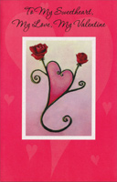 Two Roses Form Heart: Sweetheart (1 card/1 envelope) - Valentine's Day Card