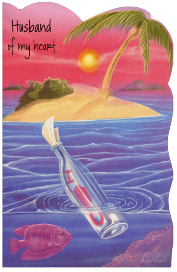 Message in Bottle: Husband (1 card/1 envelope) Freedom Greetings Valentine's Day Card - FRONT: Husband of my heart  INSIDE: Minutes, hours, and days go by, but time can't change what's true - the message of my heart to yours is always, �I love you�