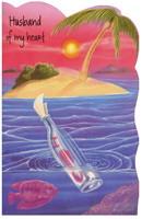 Message in Bottle: Husband (1 card/1 envelope) Freedom Greetings Valentine's Day Card