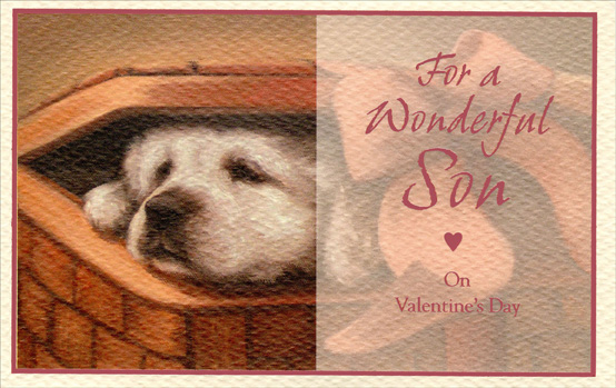 Puppy in Basket: Son (1 card/1 envelope) - Valentine's Day Card - FRONT: For a Wonderful Son on Valentine's Day  INSIDE: From the time you were just a little guy to the wonderful man you are today, You've simply grown dearer year after year� in your own very special way. Happy Valentine's Day
