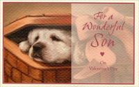 Puppy in Basket: Son (1 card/1 envelope) - Valentine's Day Card