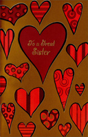 Hearts on Gold Foil: Sister (1 card/1 envelope) - Valentine's Day Card