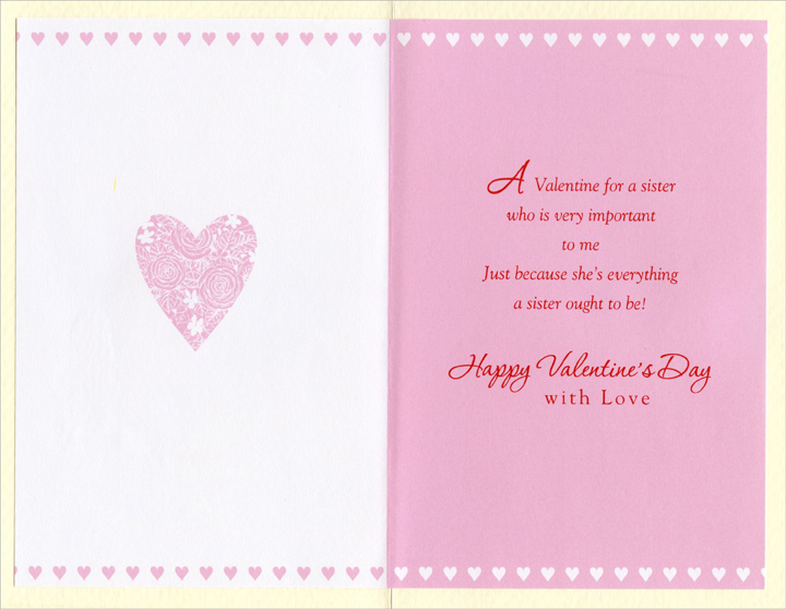 Glittery Pink Roses: Sister (1 card/1 envelope) - Valentine's Day Card - FRONT: For a Dear Sister on Valentine's Day  INSIDE: A Valentine for a sister who is very important to me Just because she's everything a sister ought to be! Happy Valentine's Day with Love