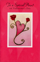 Two Roses Form Heart: Aunt (1 card/1 envelope) Freedom Greetings Valentine's Day Card