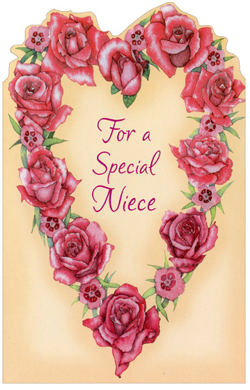 Heart of Roses: Niece (1 card/1 envelope) Freedom Greetings Valentine's Day Card - FRONT: For a Special Niece  INSIDE: Wishing you a Valentine's Day that will be your best by far With love and thanks for being the wonderful niece you are! Happy Valentine's Day