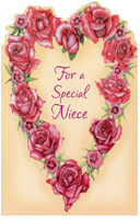 Heart of Roses: Niece (1 card/1 envelope) - Valentine's Day Card