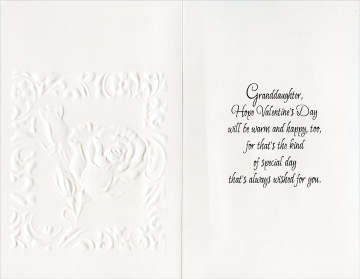 One Rose and Two Buds: Granddaughter (1 card/1 envelope) - Valentine's Day Card - FRONT: With Love on Valentine's Day Granddaughter  INSIDE: Granddaughter, Hope Valentine's Day will be warm and happy, too, for that's the kind of special day that's always wished for you.