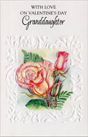 One Rose and Two Buds: Granddaughter (1 card/1 envelope) - Valentine's Day Card