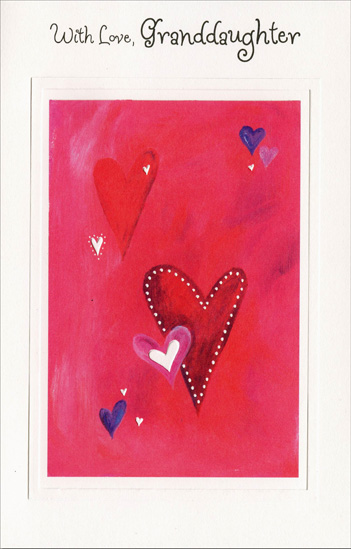 Heart Clusters on Pink: Granddaughter (1 card/1 envelope) Freedom Greetings Valentine's Day Card - FRONT: With Love, Granddaughter  INSIDE: This special Valentine wish comes with love and big hugs, too, because no granddaughter anywhere is as sweet and lovable as you! Happy Valentine's Day