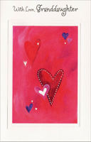 Heart Clusters on Pink: Granddaughter (1 card/1 envelope) - Valentine's Day Card