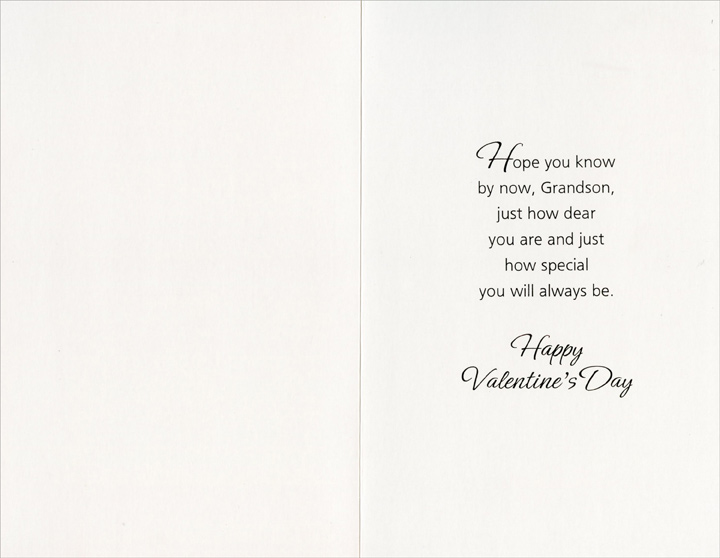 Hearts and Circles: Grandson (1 card/1 envelope) Freedom Greetings Valentine's Day Card - FRONT: With love, Grandson on Valentine's Day and Always  INSIDE: Hope you know by now, Grandson, just how dear you are and just how special you will always be. Happy Valentine's Day