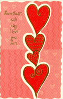 Tower of Hearts: Sweetheart (1 card/1 envelope) - Valentine's Day Card