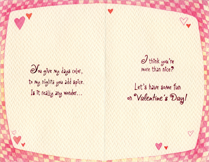 Checkered Heart & Flowers: Sweetheart (1 card/1 envelope) Freedom Greetings Valentine's Day Card - FRONT: For My Sweetheart, with Love  INSIDE: You give my days color, to my nights you add spice. Is it really any wonder… I think you're more than nice? Let's have some fun on Valentine's Day