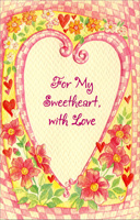 Checkered Heart & Flowers: Sweetheart (1 card/1 envelope) Freedom Greetings Valentine's Day Card