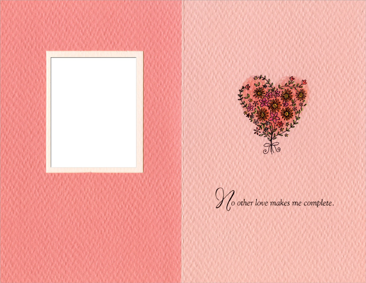 Die Cut Window with Heart of Flowers: Sweetheart (1 card/1 envelope) Freedom Greetings Valentine's Day Card - FRONT: Sweetheart� No other heart is quite so sweet.  INSIDE: No other love makes me complete.