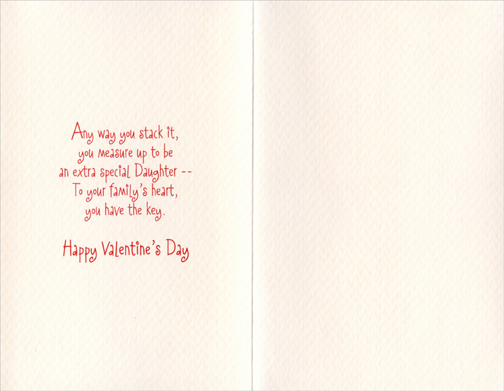 Tower of Hearts: Daughter (1 card/1 envelope) Freedom Greetings Valentine's Day Card - FRONT: With Love to a Wonderful Daughter  INSIDE: Any way you stack it, you measure up to be an extra special Daughter - To your family's heart, you have the key. Happy Valentine's Day