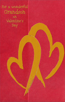 Two Red Foil Hearts: Grandson (1 card/1 envelope) Freedom Greetings Valentine's Day Card