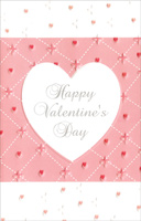 White Embossed Heart on Pink Stitches (1 card/1 envelope) - Valentine's Day Card