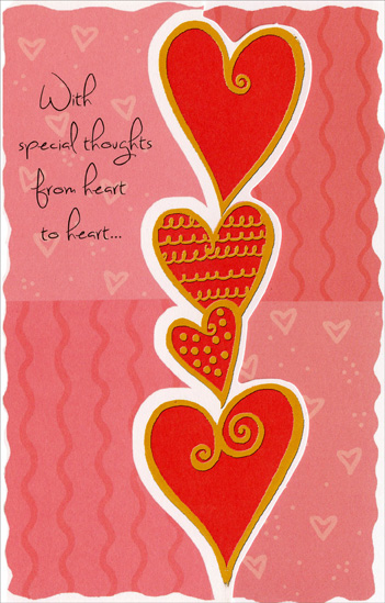 Tower of Hearts: Special Thoughts (1 card/1 envelope) Freedom Greetings Valentine's Day Card - FRONT: With special thoughts from heart to heart�  INSIDE: �where all the best feelings always start! Happy Valentine's Day