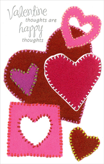 Heart Patches: Happy Thoughts (1 card/1 envelope) Freedom Greetings Valentine's Day Card - FRONT: Valentine thoughts are happy thoughts  INSIDE: That's why you came to mind!