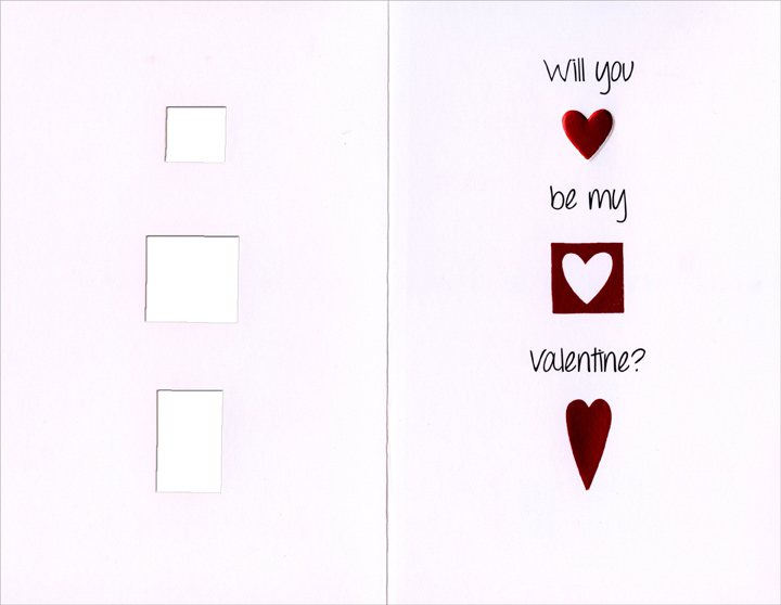 Three Die-Cut Heart Windows (1 card/1 envelope) - Valentine's Day Card  INSIDE: Will you be my Valentine?