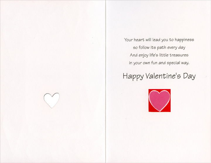 Heart Border: For You (1 card/1 envelope) Freedom Greetings Valentine's Day Card - FRONT: For you on Valentine's Day  INSIDE: Your heart will lead you to happiness so follow its path every day And enjoy life's little treasures in your own fun and special way. Happy Valentine's Day