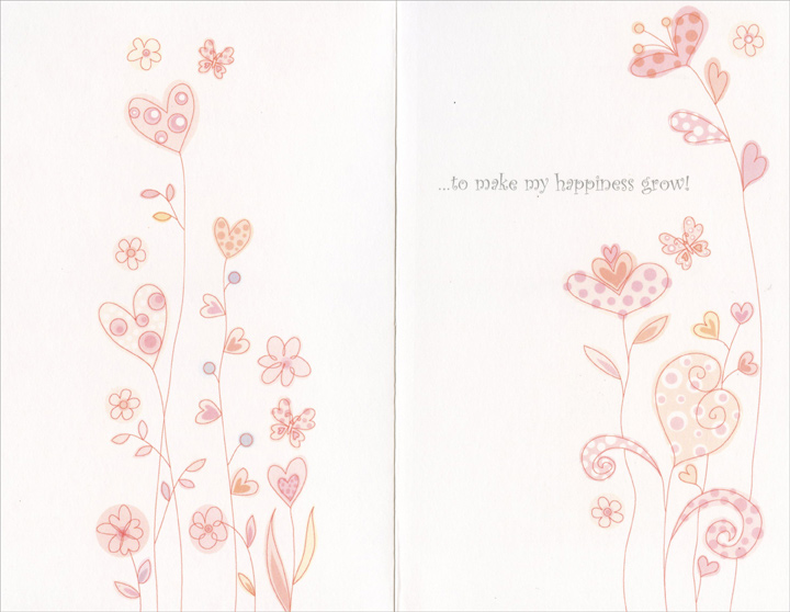 Field of Heart Flowers: Sunshine & Love (1 card/1 envelope) - Valentine's Day Card - FRONT: Valentine, sunshine and love are all you really need�  INSIDE: �to make my happiness grow!
