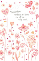 Field of Heart Flowers: Sunshine & Love (1 card/1 envelope) - Valentine's Day Card